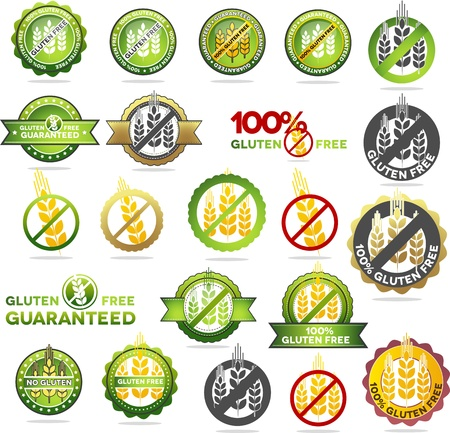intolerance: Huge collection gluten free seals. Various colorful designs, can be used as stamps, seals, badges, for packaging etc.