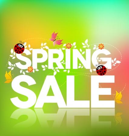 offerta speciale: Primavera vendita poster design colorato bella illustrazione, foglie verdi, coccinelle e farfalle audace e brillante