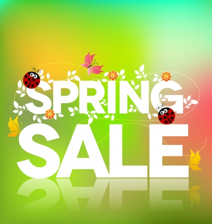 green coupon: Spring sale poster design  Beautiful colorful illustration, green leaves, ladybugs and butterflies  Bold and bright  Illustration