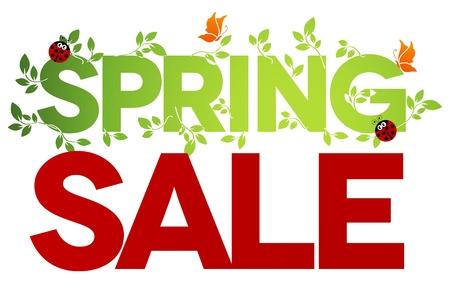 흰색 배경에 봄 판매 디자인 아름 다운 화려한 그림, 녹색 잎, 무당 벌레, 나비 대담하고 밝은 일러스트