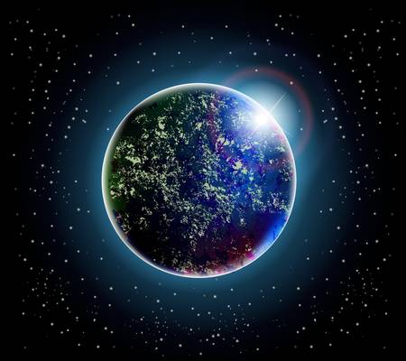 Beautiful planet and space illustration, dark sky with bright stars and light splash behind the globe Vector