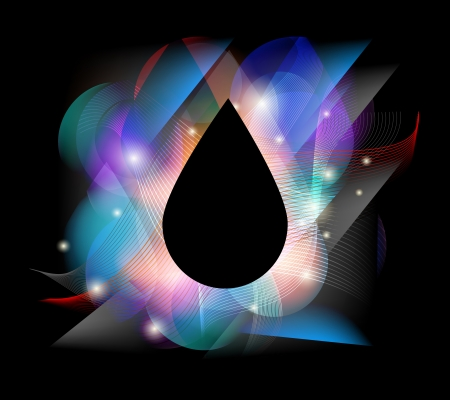 steam bath: Colorful drop concept  On a black drop can be written text