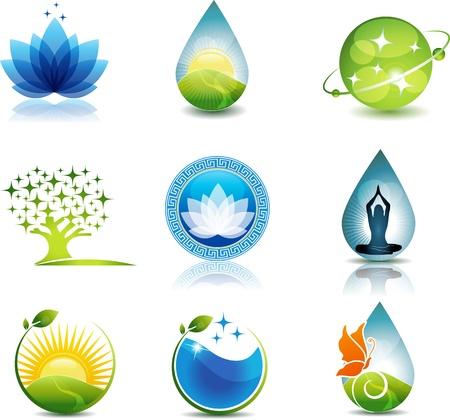 Příroda a péče o zdraví symboly Krásné koncepce na přírodu a zdraví tématu Může být použit jako symbol firemní nebo jiné účely Světlé a poutavý designu