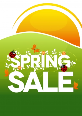 Spring sale poster. Beautiful colorful illustration with flowers, ladybugs and butterflies. Bold and bright Vector
