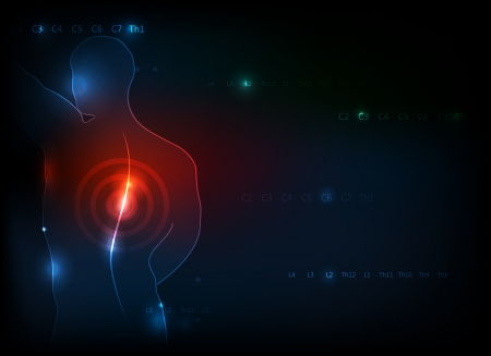 back injury: Human backache concept  Deep blue background with red light accent on a human spine