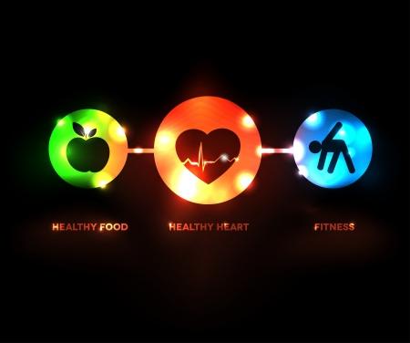 coeur sant�: R�sum� symbole de bien-�tre Illustration