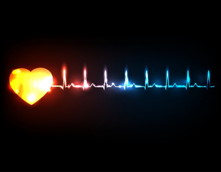 Abstract cardiogram  Colorful heartbeat concept illustration  Vector