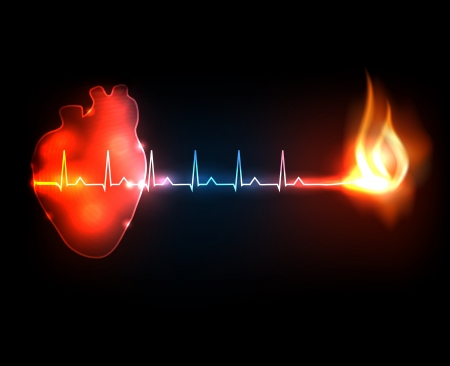 Burning cardiogram  Conceptual heart disease illustration  Vector
