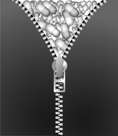 Pills. Abstract medical background with a lot of pills behind the zipper. Vector