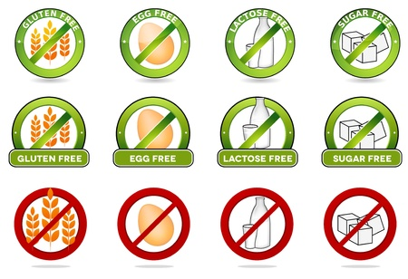 Huge collection gluten free, egg free, lactose free and sugar free signs  Various colorful designs, can be used as stamps, seals, badges, for packaging etc  Isolated on a white background  Vector