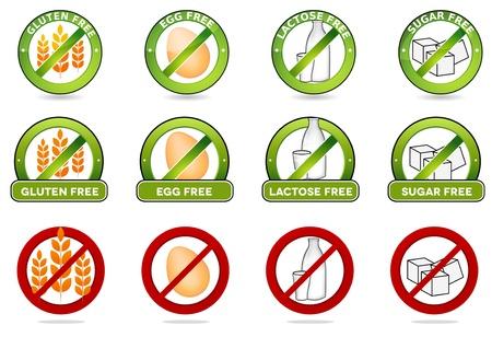 produits c�r�aliers: �norme collection sans gluten, sans oeuf, sans lactose et sans sucre signes libre Divers dessins color�s, peut �tre utilis� comme timbres, sceaux, badges, des emballages, etc isol� sur un fond blanc Illustration