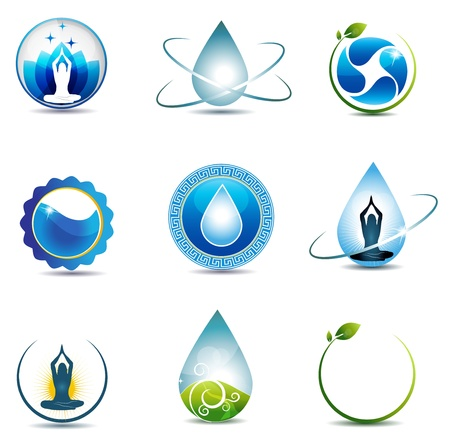 mindfulness: Natuur en gezondheidszorg symbolen geïsoleerd op een witte achtergrond Schoon en helder ontwerp Stock Illustratie
