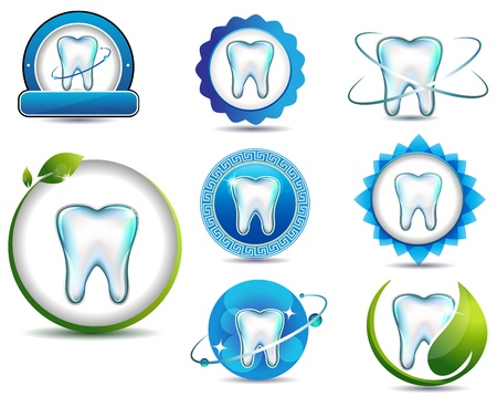 dental hygienist: Healthy teeth symbol collection  Clean and bright designs  Beautiful color combinations