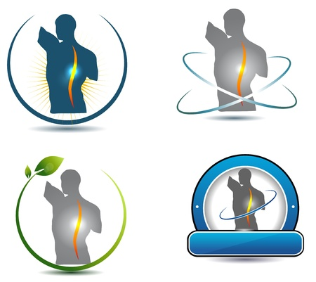 masaje deportivo: Símbolo de la columna vertebral saludable puede ser utilizado en la quiropráctica, la industria del cuidado de la salud deportiva, masajes y otros Vectores