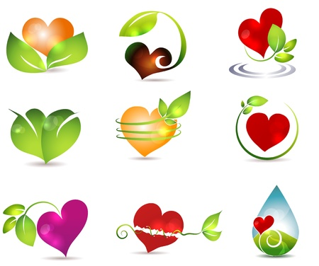 Heart and nature symbols  Bright and clean designs  Beautiful color combinations  Nature healing power