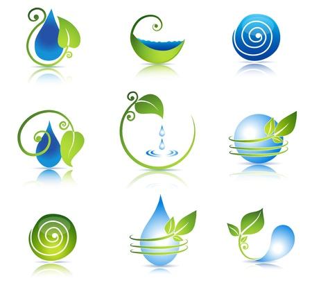 Prachtige water en blad symbool combinaties Schoon en fris gevoel Geïsoleerd op een witte achtergrond Stock Illustratie