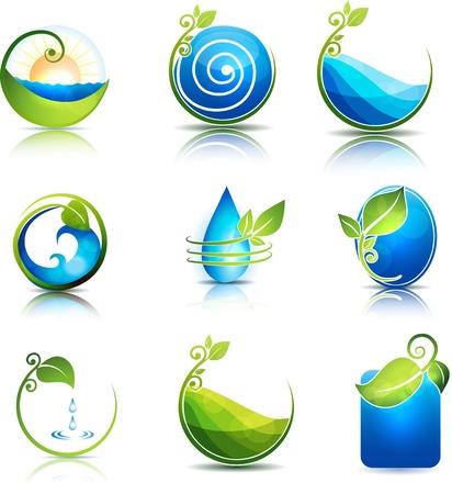 자연 치유의 상징 물, 잎, 파도와 필드 깨끗하고 신선한 느낌
