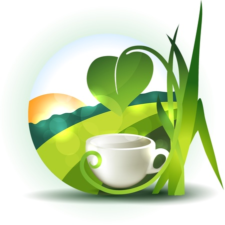 coffee company: Beautiful landscape illustration with cup and leafs  Illustration