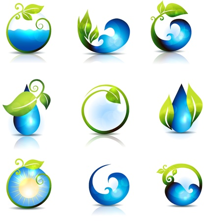 Amazing nature symbols  Water, leafs, waves and sun  Clean and fresh feeling  Can be used also in health care industry  Vector