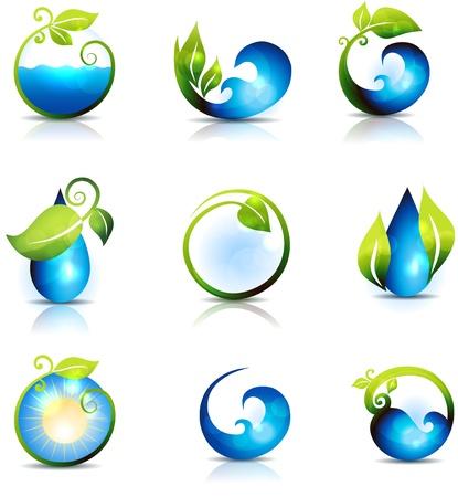 � gua: Símbolos incrível natureza água, folhas, ondas e sol limpo e fresco sentimento pode ser usado também na indústria de cuidados de saúde