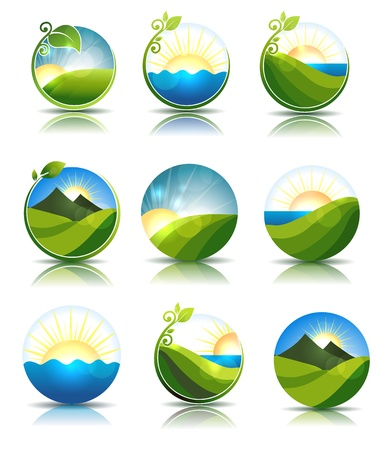 sun sky: Beautiful nature illustrations  Water, leafs, meadow and mountains  Isolated on a white background  Illustration