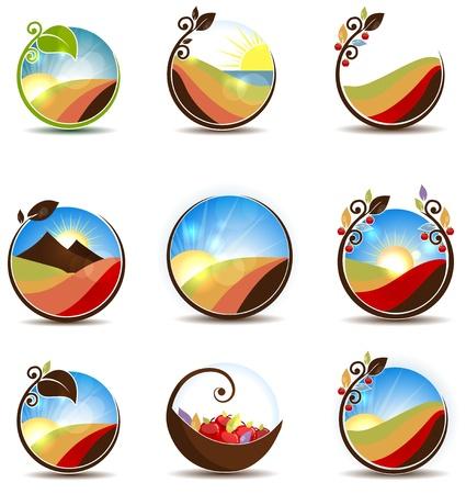 logos restaurantes: Ilustraciones Naturaleza colorida del agua, hojas, pradera, puesta de sol, el amanecer y frutas Hermoso e ilustraci�n brillante aislado en un fondo blanco