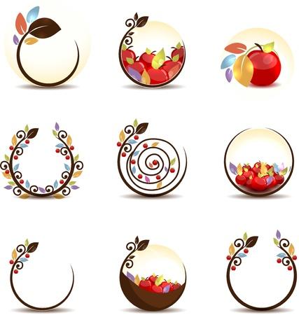 manzana: Manzana abstracto concepto de fruta sobre un fondo blanco
