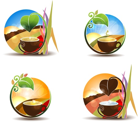 Tea concept  Colorful landscape with cup at the front   on a white background  Illustration