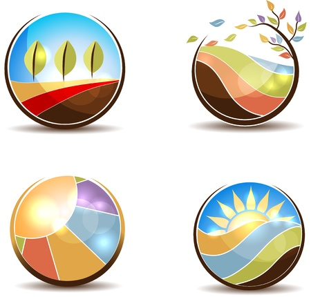 Kleurrijke natuur illustraties in de ronde vormen Vliegende blaadjes, weide, zonsopgang, velden en bomen op een witte achtergrond