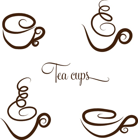 Abstract swirl tea  coffee cups collection  Hand drawn  Isolated on a white background  Vector