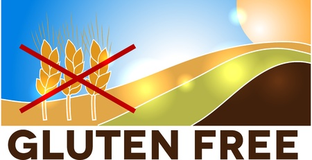 sprue: Gluten free design, landscape with wheat crossed with red lines