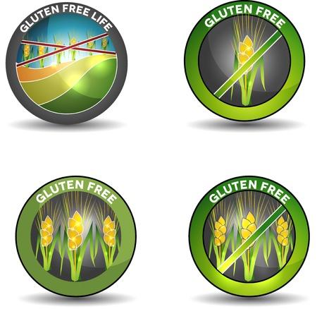 sprue: Gluten free, wheat free symbols  Isolated on a white background