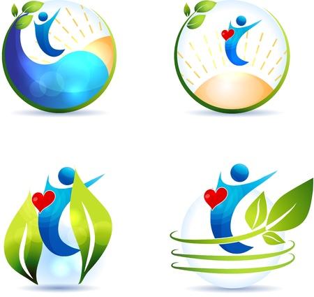 Gezonde levensstijl symbool verzameling Gezond hart en gezond leven Geïsoleerd op een witte achtergrond Vector Illustratie