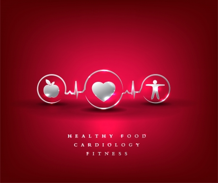 beating: Health care symbol  Healthy food and fitness leads to healthy heart and life  Bright and bold design  Illustration