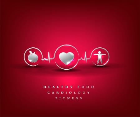 electrocardiograma: La asistencia sanitaria símbolo comida sana y fitness conduce a la salud del corazón y de la vida brillante y audaz diseño
