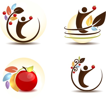agriculture icon: Apple fruit concept  Human keeping apple in his hand  Isolated on a white background   Illustration