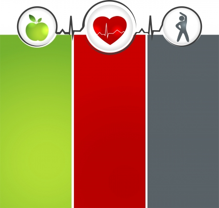 health and fitness: Wellness and healthy heart symbol  Healthy food and fitness leads to healthy heart and life  Illustration