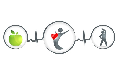 Wellness and healthy heart symbol  Healthy food and fitness leads to healthy heart and life  Иллюстрация