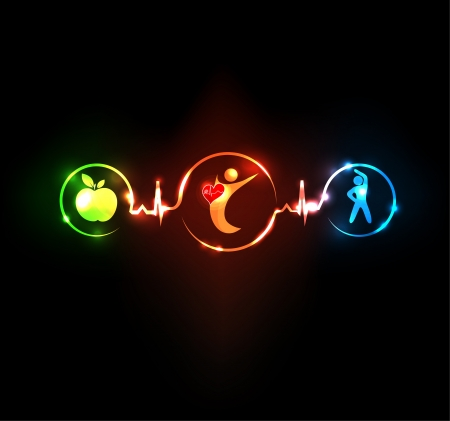 Wellness illustration   Healthy food and fitness leads to healthy heart and life  Symbols connected with heart rate monitoring line  Vector