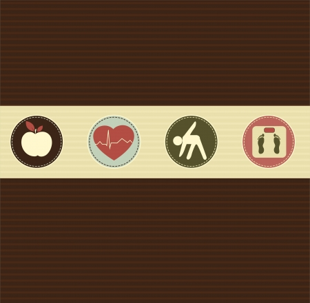 Healthy lifestyle symbols   Healthy food and fitness leads to healthy heart and healthy body  Vector
