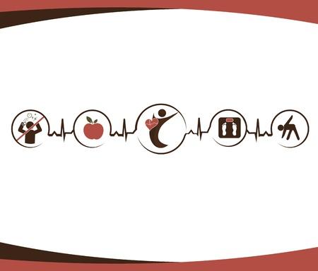 Gezonde voeding, geen stress, normaal gewicht, fitness Stock Illustratie