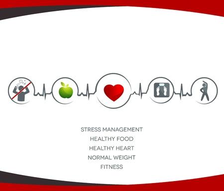 infarctus: Une alimentation saine, pas de stress, poids normal, fitness Illustration