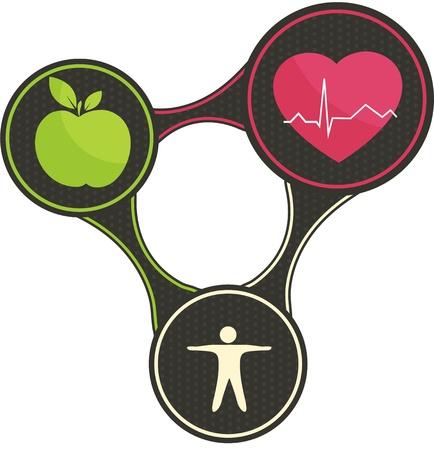 Triángulo de vida sana Ilustración de vector