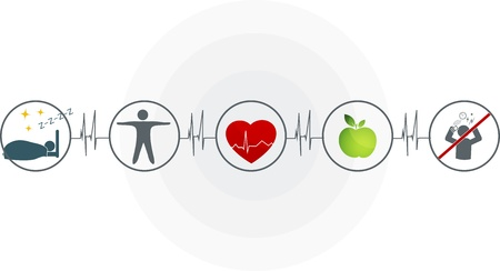 Abstract cardiogram and health care symbols connected  Healthy heart depends of good sleep, fitness, healthy food and stress management