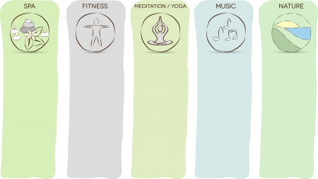 Stress management layouts  Meditation, yoga, nature, music, spa, fitness helps to prevent stress and be relaxed  Vector