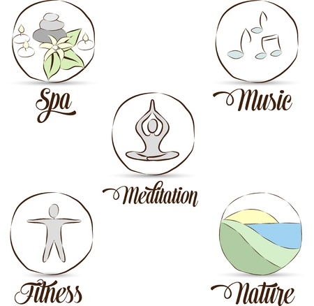Relaxation symbol collection  Hand drawn   Meditation, yoga, nature, music, spa, fitness helps to prevent stress and be relaxed