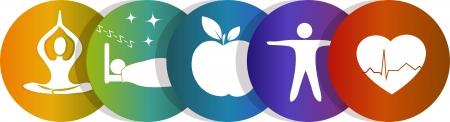 건강: 건강의 상징, 무지개 색깔 건강한 마음, 건강한 음식, 좋은 잠, 흰색 배경에 고립 요가 화려한 디자인