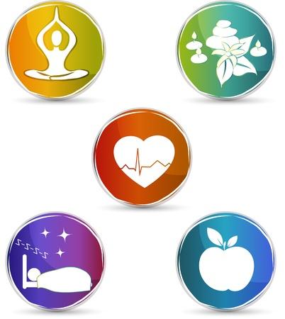 musicoterapia: Simboli di salute del cuore sano, cibo sano, dormire bene, lo yoga, la terapia termale disegno colorato isolato su uno sfondo bianco