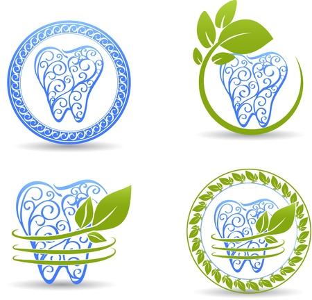 dentista: Dise�o de dientes Resumen Hermoso dise�o con elementos de remolino y hojas