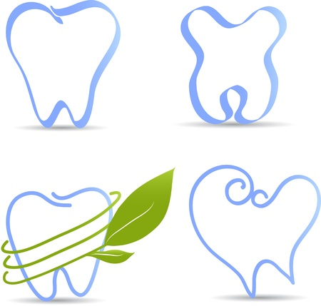 Simple tooth illustration collection  Healthy teeth abstract illustrations  Isolated on a white  Vector